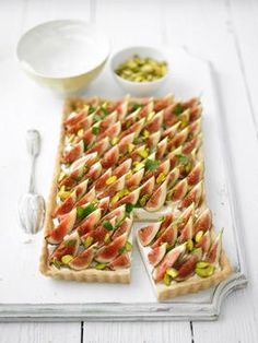 Fig, Cream Cheese and Mint Tart Recipe : Lorraine Pascale : Recipes : Cooking Channel Fig Recipes, Tart Recipes, Other Recipes, Dessert Recipes, Desserts, Fig Dessert, Tapas, Homemade Pastries, Cheese Tarts