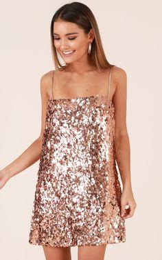 Showpo Virgo Rising Dress in Rose Gold Sequin - 16 (XXL) Party Dresses