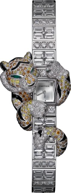 Diamond Watches Ideas : CARTIER High Jewelry watch Small model, rhodiumized white gold, enamel, diamonds - Watches Topia - Watches: Best Lists, Trends & the Latest Styles Black Gold Jewelry, High Jewelry, Cartier Jewelry, Jewelry Watches, Women's Watches, Cartier Watches Women, Cartier Panthere, Beautiful Watches, Unique Watches