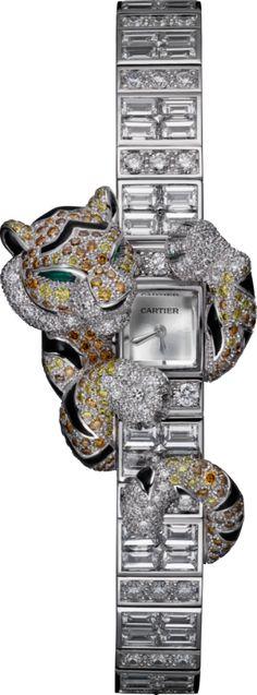 CARTIER High Jewelry watch Small model, rhodiumized 18K white gold, enamel, diamonds
