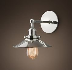 $111 - Stairs - 20th C. Factory Filament Metal Sconce