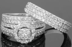 14K White Gold 2.10 CT Men Women Diamond Bridal Engagement Wedding Ring Trio Set #giftjewelry22