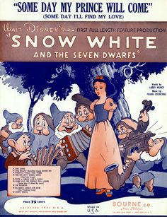 Sheet music for Someday My Prince Will Come from Walt Disney's Snow White and the Seven Dwarfs, 1937.