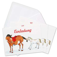 Einladungskarten für einen Pferde Geburtstag. Ideal für deine Party auf einem Ponyhof.  Set bestehend aus 6 Einladung-Postkarten und 6 Briefumschlägen.           Du feierst den Geburtstag auf einem Reiterhof? Mit dieser niedlic...