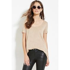 Love 21 Women's  Contemporary Raw-Cut Pocket Tee ($8.90) ❤ liked on Polyvore featuring tops, t-shirts, love 21, pink pocket tee, pink tee, short sleeve scoop neck tee and scoop neck top