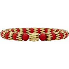 Magnificent Mediterranean Red Coral and 22K Gold 8 inch Bracelet -- SALE on NOW -- This item is 30% off for 72 hours beginning Jan 18th at 8 am PST and ending Jan 21st at 8 am PST --- #vintagebeginshere #sale