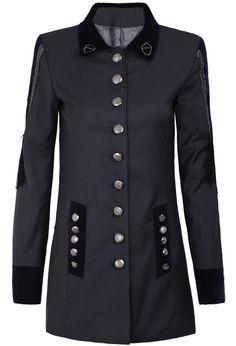 Grey Long Sleeve Tassel Buttons Blazer - Sheinside.com