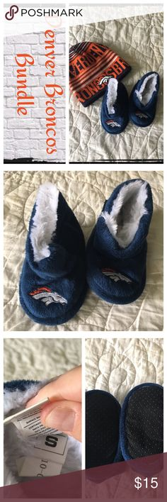 Broncos Bany bundle Slippers and beanie Gently worn, normal wash wear. EUC.                                  ❇️ There could be some small stains/blemishes I missed, but I try to note everything.😘.                          ❇️ Reasonable Offers Only Please ❇️ Smoke and pet free ❇️ If this is a bundle, I WILL NOT break it up and sell    separately ❇️ I do not model anything; I will provide measurements if needed.  ❇️ Please do not hesitate to ask questions, 👍.         ❇️ NO HOLDS, NO TRADES…