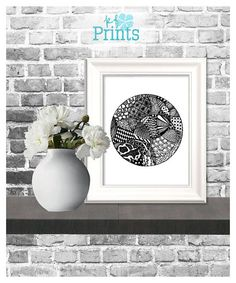 Zentangle Art / Monochrome Decor / Hand Drawn Zentangle / Hand Drawn Art / Printable Home Decor / Printable Wall Art  Discs is an original art piece done in the style of Zentangle. It was created by hand using black Sharpie markers to create this unique piece of wall art that looks wonderful on its own or as a set. Add this beautiful zentangle to a gallery wall as a lovely accent. The ways to display this piece are endless! Do you love this print? Please check out the...