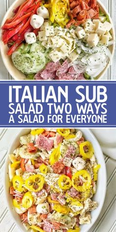 Italian Sub Salad Two Ways A Salad For Everyone The salad I came up with is inspired by an Italian Sub Sandwich and can be made two ways with most of the same ingredient. Ensalada Thai, Clean Eating Snacks, Healthy Eating, Dinner Healthy, Move Over, Tortellini Salad, Pasta Salad, Cooking Recipes, Healthy Recipes