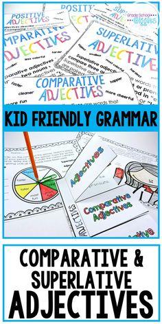 Comparative and Superlative Adjectives Adjectives Activities, Interactive Activities, Interactive Notebooks, Classroom Activities, Grammar Rules, Teaching Grammar, Teaching Resources, Adjectives Grammar, Esl