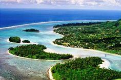 An aerial view of Muri Beach, Rarotonga