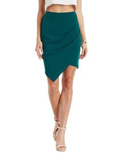 Asymmetrical Pointed Hem Tulip Skirt by Charlotte Russe - Emerald