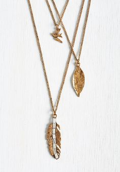 Plume of My Own Necklace. Time to make room on your jewelry stand because this gold necklace is a flight for all to see! #gold #modcloth