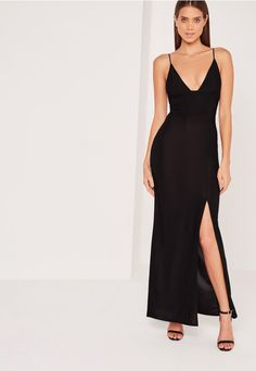 Take the plunge and feast your eyes on this black dress - a perfect wardrobe staple. In a fierce black shade, sexy plunge neckline, split front and slinky style, you'll instantly look seriously seductive. Team with barely there heels, a mat...
