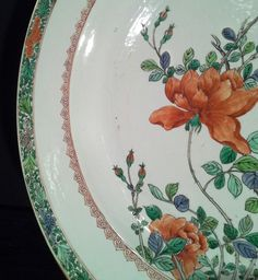 Detail Porcelain & Faience  - Large Green family China platter of Kangxi period
