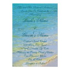 Beautiful Beach Waves Sand Tropical Wedding Card