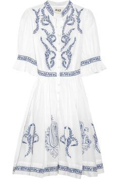 ALICE by Temperley|Embroidered cotton and silk-blend dress