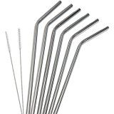 Amazon.com: Food Grade Stainless Steel Drinking Straws Set of 4 with Cleaning Brush Included Strongest Metal Reusable 8.5 inch Eco Friendly Curved Drinking Straws by Blue Joy: Health & Personal Care