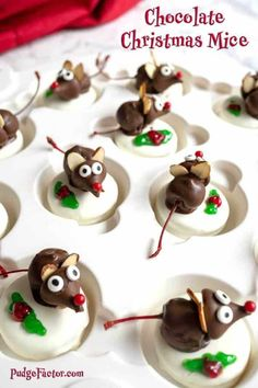 Chocolate Christmas Mice are just in time for the holidays. These adorable treats are sure to please everyone, young and old Christmas Mice are just in time for the holidays. These adorable treats are sure to please everyone, young and old. Christmas Deserts, Christmas Party Food, Xmas Food, Christmas Appetizers, Christmas Cooking, Holiday Desserts, Holiday Baking, Holiday Treats, Holiday Recipes