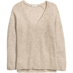 H&M Rib-knit jumper (260 NOK) ❤ liked on Polyvore featuring tops, sweaters, light beige marl, pink v neck sweater, pink jumper, ribbed knit sweater, beige sweater and jumpers sweaters