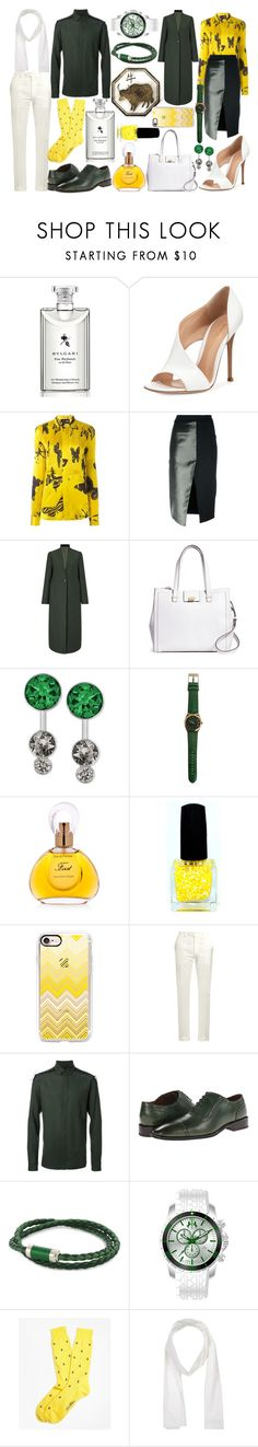 """""""Year Of The Ox"""" by quinn-avina ❤ liked on Polyvore featuring Bulgari, Gianvito Rossi, MICHEL KLEIN, Ssheena, Jigsaw, Brooks Brothers, Swarovski, Van Cleef & Arpels, Casetify and Brioni"""