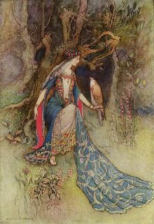 The 1912 edition of The Modern Reader's Chaucer contains magical fantasy renderings by Warwick Goble of various tales, such as the Squire's Tale, the Tale of Sir Thopas, The Clerk's Tale and the Merchant's Tale.