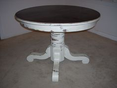 *Shabby Distressed Oak Round Pedestal Table - $375