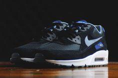 nike air max 90 essential black dark grey gym-blue