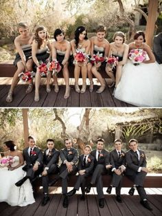 You have to hand it to the bridal party.and the other bridal party. How to make a wedding fun instead of stressful! Wedding Fotos, Wedding Pictures, Wedding Photoshoot, Engagement Pictures, Wedding Bells, Wedding Bride, Wedding Day, Wedding Stuff, Wedding Photographie