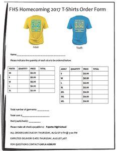 Reunion TShirt Order Form   TShirt Order Forms