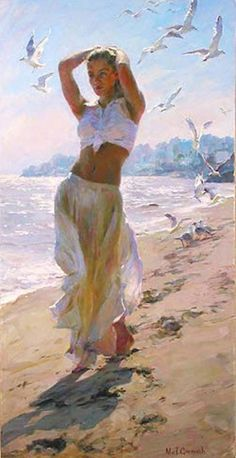 Morning Breeze a Garmash Original Painting available from J Watson Fine Art 661 your source for beautiful Michael and Inessa Garmash original paintings and limited edition artwork. Woman Painting, Figure Painting, Painting Canvas, Artist Painting, Art Plage, Beach Walk, Beautiful Paintings, Beach Paintings, Oil Paintings