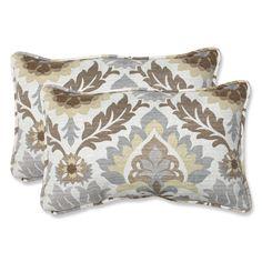 Brown and Grey Outdoor Santa Maria Moonstone Rectangular Throw Pillow, Set of 2