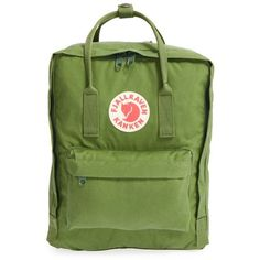 Fjallraven 'Kanken' Water Resistant Backpack (665 NOK) via Polyvore featuring bags, backpacks, leaf green, leaf bags, green bags, water resistant bag, day pack rucksack and water resistant backpack