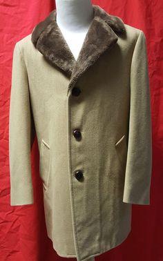 VTG Pendleton 100% Virgin Wool Fur Collar Over Coat Men's 42 Beige 60s 70s Retro #Pendleton #Overcoat