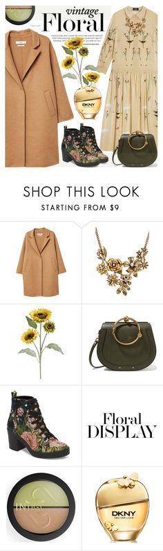 """""""Vintage Florals"""" by cilita-d ❤ liked on Polyvore featuring MANGO, WithChic, Pier 1 Imports, Chloé, Steve Madden, INIKA, DKNY, Kaisercraft and vintage"""