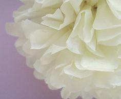 1 Cream Tissue Paper Pom Pom  Wedding Decoration  by PaperPomPoms