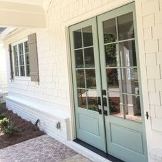 Exterior Paint Colors: Shakes/Brick are Alabaster by SW. Doors: Wythe Blue by BM Shutters: Pavestone by SW