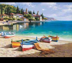 Watercolor Landscape, Landscape Art, Landscape Paintings, Landscape Photography, Seascape Paintings, Watercolor Paintings, Lake Painting, Artist Painting, Painting Wallpaper