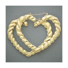 10K Yellow Gold Heart Door Knocker Hoop Earrings 2 3/4 Inch Hip Hop... ❤ liked on Polyvore
