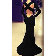Cross Backless Maxi Black Dress (52 BRL) ❤ liked on Polyvore