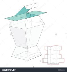 Prismatic Box With Die Cut Template Stock Vector Illustration 340360457 : Shutterstock Diy Gift Box, Paper Gift Box, Paper Gifts, Packaging Dielines, Box Packaging, Packaging Design, Paper Box Template, Creative Box, Packing Boxes