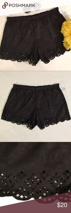 """Maurices black soft laser cut shorts Maurices black, suede like, stretchy, laser cut shorts. Soft, lightweight suede like material. Elastic waistband. Scalloped, laser cut hem. NWT, new with tags. Size large. Measurements taken laid flat. 16"""" waist, 3"""" inseam, 10 1/2"""" rise. Maurices Shorts"""
