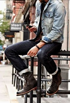 I love the dark blue denim and brown boots.