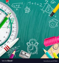 Creative chalk background with school supplies Vector Image School Chalkboard Art, Math Border, Powerpoint Background Free, Drawing Book Pdf, Pink Clouds Wallpaper, Math Wallpaper, Notebook Cover Design, Boarders And Frames, Blur Background Photography