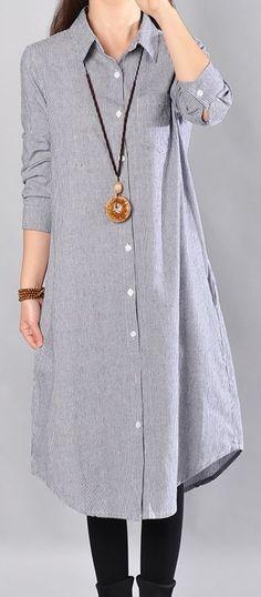7bc49fe9d5c baggy blue Midi-length linen dress oversize linen shirts dresses boutique  lapel collar striped cotton clothing