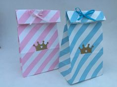 5+ Pink & Blue Paper Candy Bags: Princess Party Bags, Prince Candy Bags, Favor Bags, Goody Bags, Treat Bag