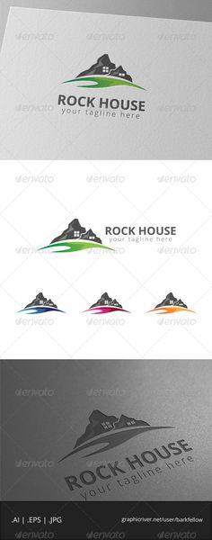Rock Mountain House Logo by barkfellow Rock Mountain House Logo Template - 4files: AI CS EPS 10 EPS CS JPG - CMYK 300ppi print ready - Re-sizable - Editabl