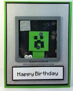 , Punch Art, Minecraft Shaker Birthday Card #stampinup  www.simplysaidwithkaren.com