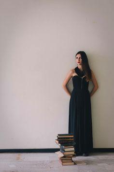 elena gina handmade creations black necklace  fringes red crystal girl vintage style black books photography